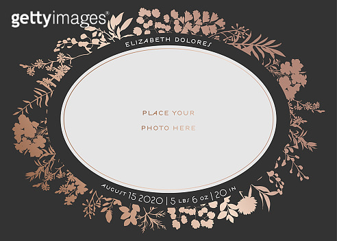 Baby Shower Greeting Card with Floral Frame. Newborn Child Party Invitation Template with Place for Baby Photo and Golden Flowers. Wedding, Save the Date Card. Vector illustration