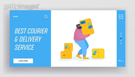 Loader Bringing Packing in Post Office Warehouse Website Landing Page. Courier Man Carry Parcel Boxes. Mail Delivery Service, Postage Transportation Web Page Banner. Cartoon Flat Vector Illustration