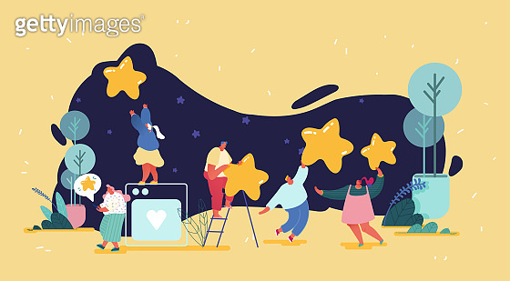Group of people leaving five star rating. Customer experience and satisfaction, positive feedback, rating work, product or service review and evaluation. Modern flat vector illustration