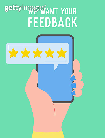 Feedback concept illustration. People holding phone and rate service, user experience. Five stars positive opinion, good review. Vector cartoon