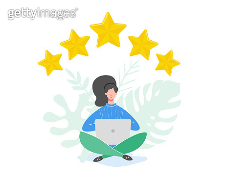 Review concept illustration. People characters holding gold stars. Women rate services and user experience using laptop. Five stars positive opinion, good feedback. Vector cartoon