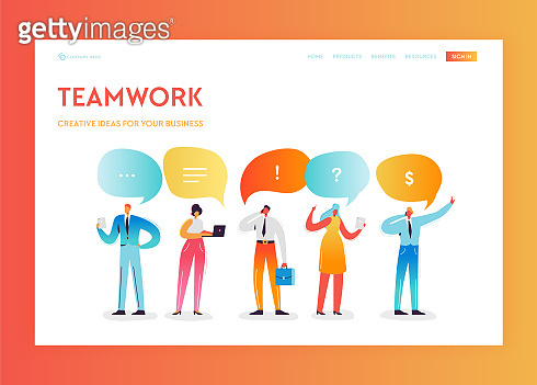 Team Work Creative Process Landing Page Template. Social Media Communication Concept with People Characters Working Together for Website Banner. Vector illustration