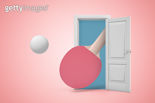 3d rendering of big ping-pong racket and ball emerging from open door on pink background.