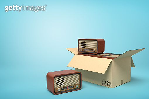 3d rendering of old-fashioned radios in carton box on blue background.