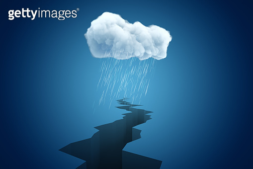 3d rendering of big crevasse disappearing in distance under cloud of pouring rain.