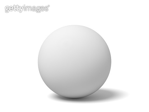 3d close-up rendering of white ping pong ball on white background.