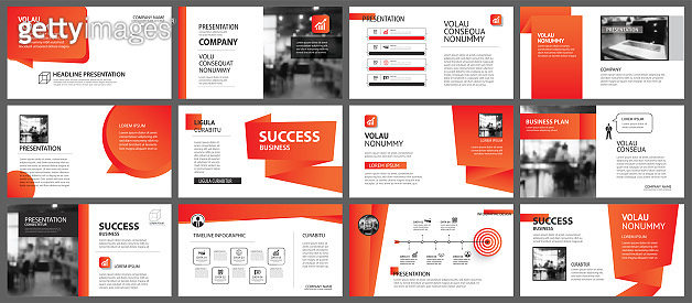 Presentation and slide layout template. Design red and orange gradient in paper shape background. Use for business annual report, flyer, marketing, leaflet, advertising, brochure, modern style.