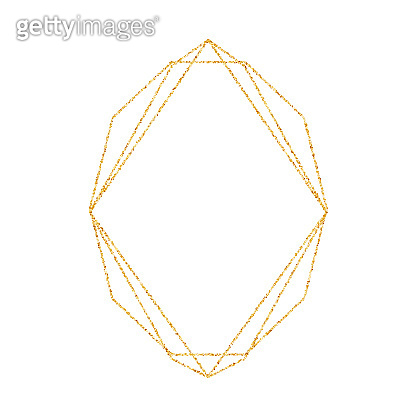 Geometric gold frame for wedding or birthday invitation background. Vector modern design template for brochure, poster or greetina card. Art Deco