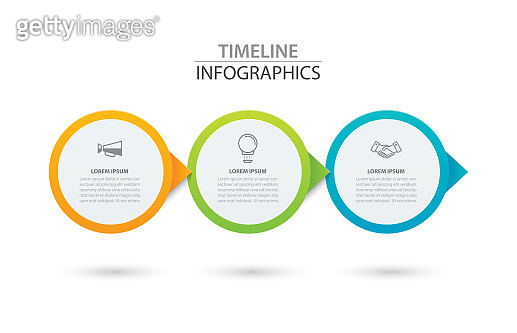 Infographics timeline circle paper with 3 data template. Vector illustration abstract background. Can be used for workflow layout, business step, brochure, flyers, banner, web design.