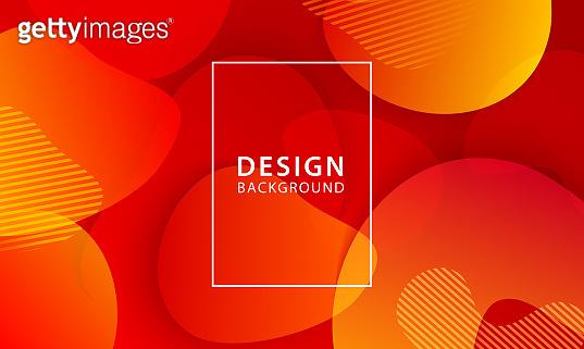 Fluid shape banner design background. Liquid geometric red and orange gradient template.