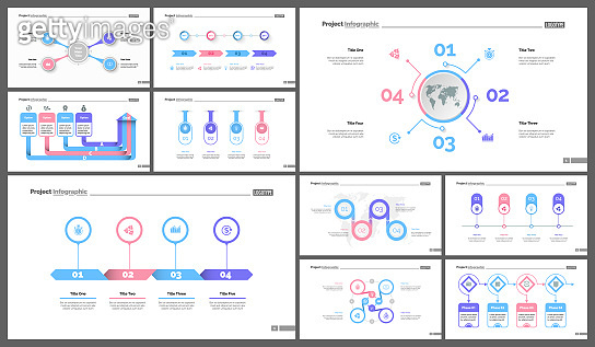 Set of startup or investment concept infographic charts