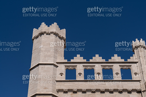A tower and crenellations along the roof line of La Lonja, Palma (Mallorca)
