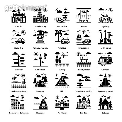 Tourism Solid Icons Set