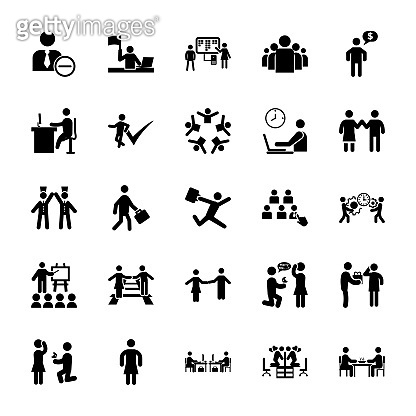 Set Of Team Organization Pictograms