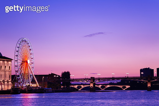 Garonne embankment night view in Toulouse, France