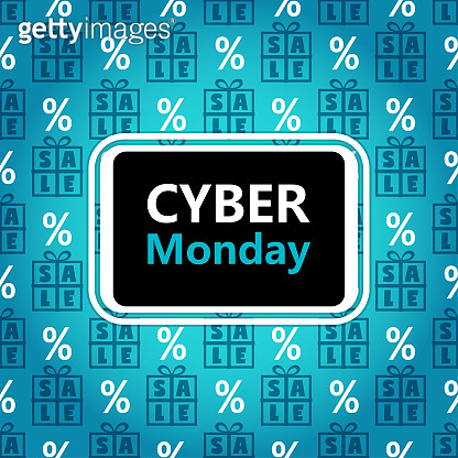 Cyber Monday sale banner in contrast colors
