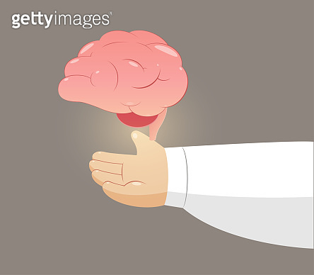 Cartoon man holding brain against a brown background, Mental health, Illustration and Vector