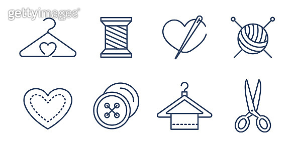 Vector set of logo design templates and icons  in simple linear style - handmade fashion