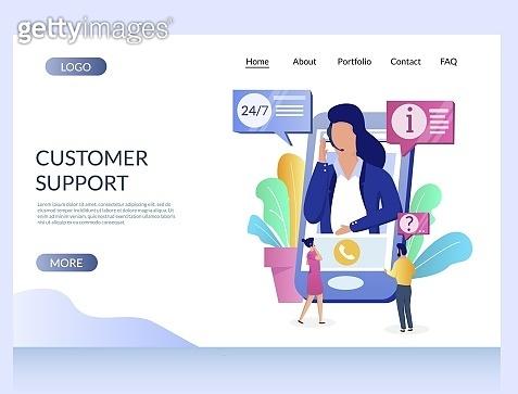 Customer support vector website landing page design template