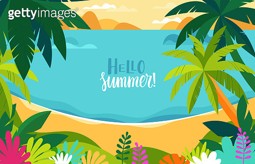 Vector illustration - beach landscape - plants, leaves, palm trees and ocean - background with copy space for text
