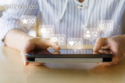 Woman in Social media network .