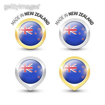 Made in New Zealand - Round labels with flags