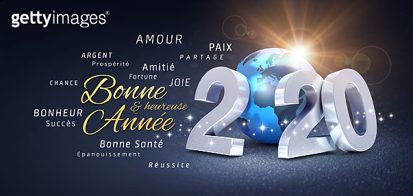 New Year 2020 French Greeting card, wishing the best