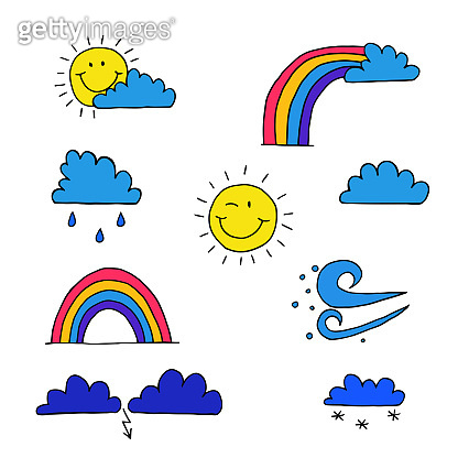 Set of cartoon icons on the theme of weather