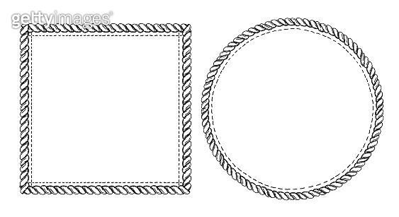 Simple doodle frames set, marine style