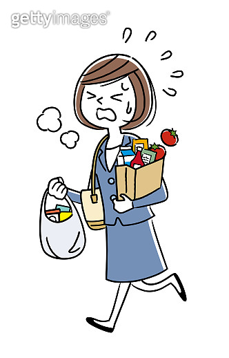 Illustration material: working woman returning home from shopping