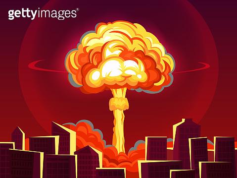 Nuclear explosion in city. Atomic bombing, bomb explosion fiery mushroom cloud and war destruction cartoon vector illustration