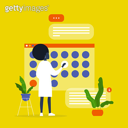 Young black female manager planning a project in a digital calendar. Organising the working process. Deadlines. Office life. Flat editable vector illustration, clip art
