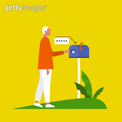 Access to mailbox. Locked postbox. Enter the password. Pop up window. New technologies. Flat editable vector illustration, clip art