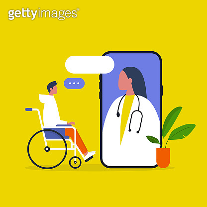 Doctor appointment. Online consultation. Modern healthcare technologies. Hospital. Young disabled male character sitting in a wheelchair. Disability. Daily life.