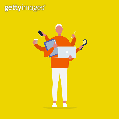Multitasking millennial concept. Young male character with six hands doing a lot of tasks at the same time  / flat editable vector illustration