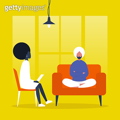 Young character visiting a psychologist doctor. Mental health care. Flat illustration. Patient sitting on a sofa with arms crossed. Young doctor listening to a patient and making notes. Psychotherapy