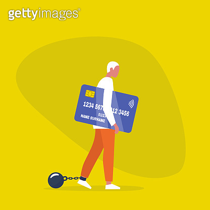 Young exhausted male character wearing the shackles and holding a credit card. Domestic violence. Obligation. Debt. Concept/ flat editable vector illustration, clip art