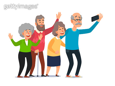 Old people selfie. Senior people taking smartphone photo, happy laughing group of seniors cartoon illustration