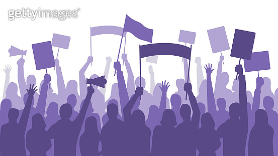 Activists protest. Political riot sign banners, people holding protests placards and manifestation banner vector illustration