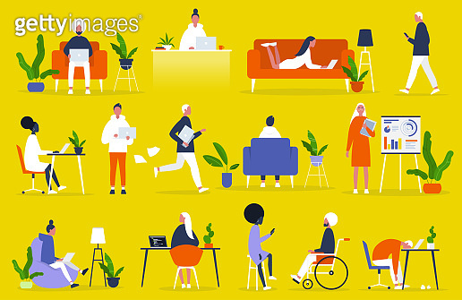 Big set of business people. Office situations. Millennials at work. Diversity. Modern professions. Management. Inclusive team of specialists. Flat editable vector illustration, clip art