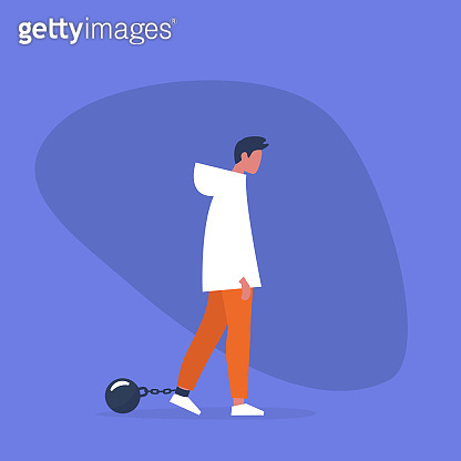 Young exhausted character wearing  shackles. Obligation. Debt. Concept/ flat editable vector illustration, clip art