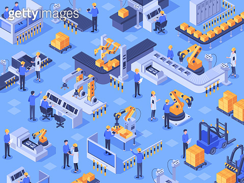 Isometric smart industrial factory. Automated production line, automation industry and factories engineer workers vector illustration
