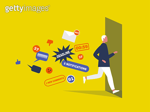 Digital hygiene. Stress. Male Character running away from the pop up notifications through the doorway. Modern lifestyle. Overwhelming flow of information. Flat editable vector illustration, clip art