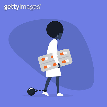 Young exhausted black female character wearing shackles and holding a blister of pills. Depression. Antidepressant. Addiction. Modern problems. Mental health / flat editable vector illustration