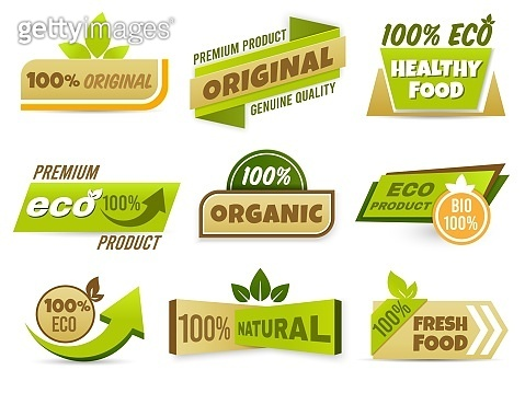 Eco label banner. Healthy food labels, eco bio product and natural organic emblem badges vector set. 100 percent original production tags collection. Freshness and quality assurance stickers pack