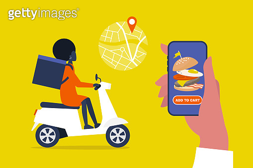 Food delivery service. Mobile application. Young black female courier with a large backpack riding a motor bike. Flat editable vector illustration, clip art