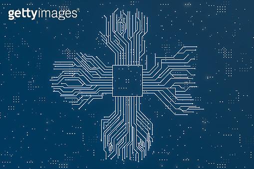 golden glowing circuit components, 3d rendering