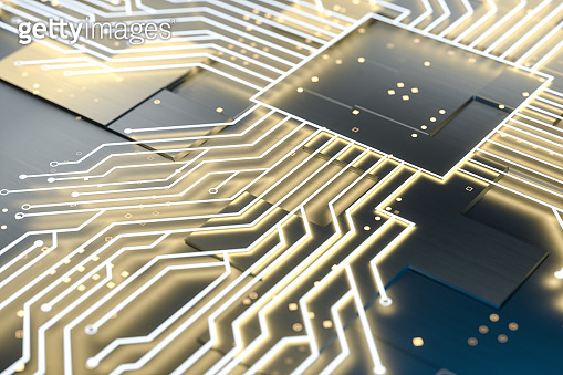 golden glowing circuit components, 3d rendering