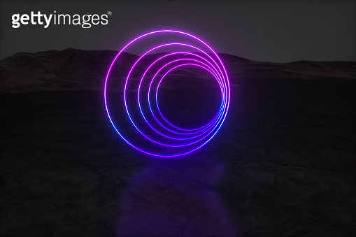 colorful glowing lines with dark mountain background, 3d rendering