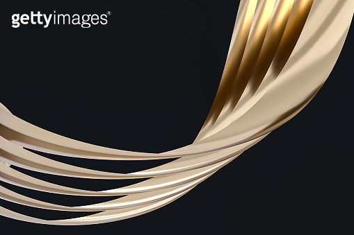 golden curve pattern, 3d rendering